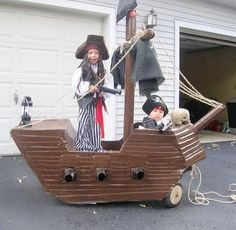 Pirate ship from wagon, made with cardboard and duct tape. I think this is a wee bit more work than I'd like to do, but wow.