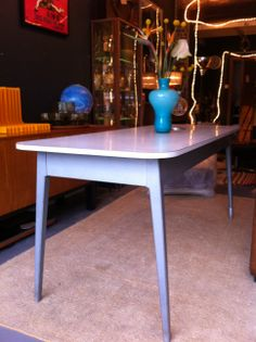 British modernist table by James Leonard for Esavian Ltd (the education supply association E.S.A) The base is a cat aluminium structure with recessed rivets producing a smooth consistent surface whilst the top is a solid Formica covered wood. C1948 Available at www.modernebrighton.com