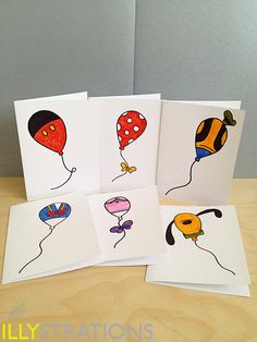 Hand Doodled Disney Balloons - Set of 6 notecards. $28.00, via Etsy.