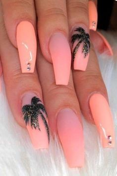 Nagellack Design, Nagel Hacks, Peach Nails, Peach Nail Colors, Peach Nail Art, Orange Nails, Fire Nails, Best Acrylic Nails, Summer Acrylic Nails Designs
