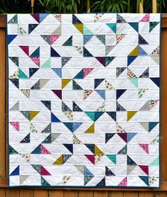 This Lagoon HST Lap Quilt is perfect for charm squares! Bargello Quilts, Lap Quilts, Small Quilts, Mini Quilts, Quilt Blocks, Scrappy Quilts, Heart Quilts, Flannel Quilts, Half Square Triangle Quilts Pattern