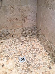 Quartz Mosaic Tile Shower Flooring and Wall Accent