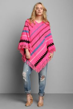 Vintage '80s Hot Pink Knit Poncho #urbanoutfitters #vintage
