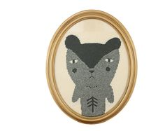 Bear - a Knitted Portrait  wall hanging in oval frame | Colette Bream Cute!