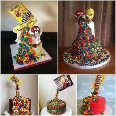 M&M Gravity Defying Rainbow Cake