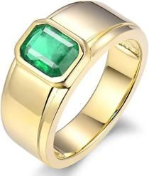 Men's Jewelry Natural Green Emerald Rings Yellow Gold Engagement Birthstone Band for Men Mens Emerald Rings, Natural Emerald Rings, Mens Gold Rings, Green Emerald Ring, White Gold Rings, Rings For Men, Swarovski Jewelry, Men's Jewelry, Vintage Jewelry