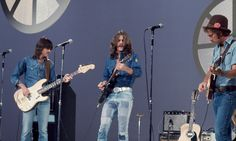 """The Eagles performed on the musical variety show, """"The Helen Reddy Show"""" on July Pictured left to right, Randy Meisner, Glenn Frey and Bernie Leadon don coordinating denim ensembles as they take the stage for the live show. Great Bands, Cool Bands, Helen Reddy, Bernie Leadon, Randy Meisner, Eagles Band, Glenn Frey, Country Bands, Hotel California"""