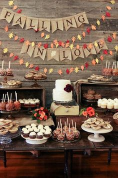 We are falling in love with this fall inspired dessert table! Use decorations!