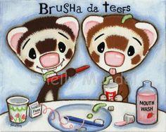 Original Painting - Sable Ferrets Brushing Teeth- Outsider Art Shelly Mundel
