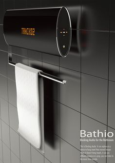 Bathio Docking Station for Bathrooms that plays music while you are bathing and dries the towels when you are done. #bath #dock #dryer #YankoDesign