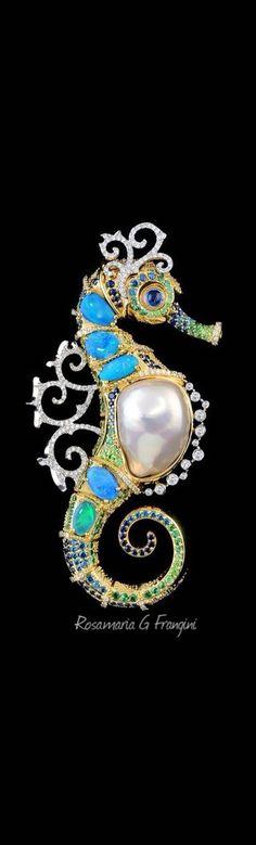 RosamariaGFrangini | PearlPoetry | Master Exclusive Jewellery - Collection - Ocean secrets seahorse pendant #9004. 18K yellow and white gold, baroque pearl, opals, diamonds, blue diamonds, blue sapphires, tsavority, demantoid garnets.