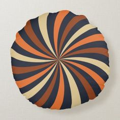 Modern Autumn Brown Lollipop Swirl Round Pillow