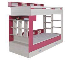"""Funktionsbett / Kinderbett """"Felipe"""" 14, Rosa / Weiß - Liegefläche: 90 x 200 cm"""