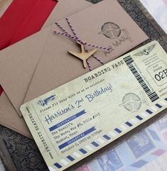 Vintage Air Mail Boarding Pass Birthday Invitation - Design Fee