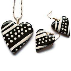 Black n white jewelry set #polymer clay