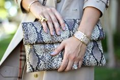 Carrie Bradshaw Lied: Python Pencil Skirt featuring a Prima donna clutch