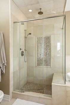 Large tiles.    Master Bathroom Shower contemporary bathroom