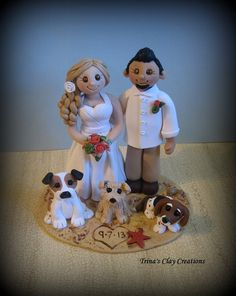 Beach Theme Wedding Cake Topper by Trina's Clay Creations