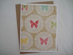 Butterfly Doily - A2 Greeting Card & Envelope