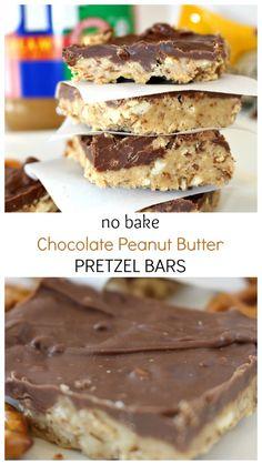 No Bake Chocolate Peanut Butter Pretzel Bars