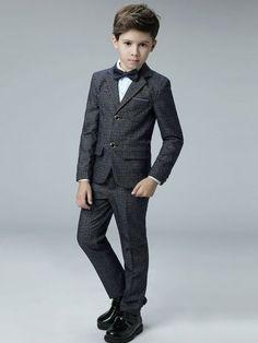 Plaids Coat&Pant&Vest&Shirt&Cravat Boy Suit Sets