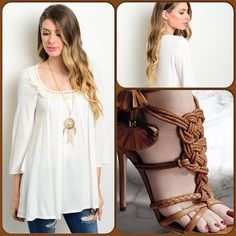 Beige Bohemian Top This light beige top features 3/4 flare sleeves, rounded fringe accented neckline and is free flowing 100% polyester material. Shoes are not available. Shoe pic used to style top only. Price of top is firm unless bundled or goes on sale.(This closet does not trade or use PayPal ) Tops Blouses