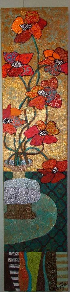 red flowers, abstract still life, mixed media, fun with patchwork quilting and fabric using only paint.  kara michael freeman