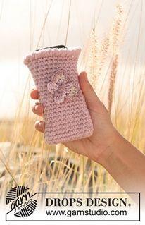 """Gehaakt DROPS hoesje voor de mobiele telefoon met vlinder van """"Nepal"""" en """"Cotton Viscose"""". ~ DROPS Design"""