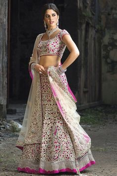 Wow pink and white lehenga... Pure bridal wear