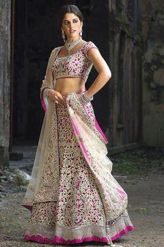 Wow pink and white lehenga... Pure bridal wear