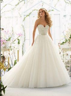Vestido de noiva Gola de Coração Cauda Médio de Tule