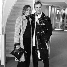 Phoebe Philo wearing Céline with Raf Simons