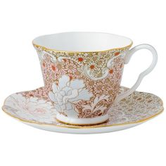 Wedgwood Daisy Tea Story Teacup & Saucer Set, Pink ($50) ❤ liked on Polyvore featuring home, kitchen & dining, drinkware, cup, decor, food, teacup, multi, tea cups and breakfast cups