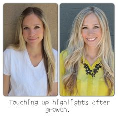 DIY highlights. Before and after. Touching up roots at home.