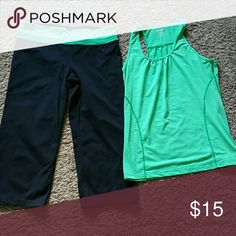 Green yoga set Pants are size XL and are Capri. Shirt is XL and has racer back. Kirkland Pants