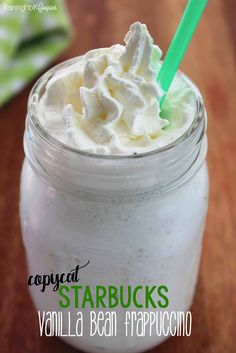 Copycat Starbucks Vanilla Bean Frappuccino - This Starbucks copycat recipe is actually kid friendly and a super tasty and refreshing summer drink!