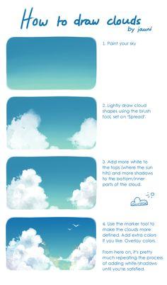 Digital Painting Tutorials, Digital Art Tutorial, Art Tutorials, Cloud Drawing, Water Drawing, Drawing Tips, Art Painting Gallery, Sky Painting, Matte Painting