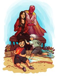 """dog-fur: """" so on the train back from geneva, pretty much all I had to read was the children's crusade (don't ask…) which got me to thinking about mcu wanda and how absolutely heartbreaking it would be for her to have a child who was identical to. Avengers Fan Art, Young Avengers, Marvel Fan Art, Marvel Show, Marvel 3, Marvel Girls, Marvel Characters, Marvel Movies, Wiccan Marvel"""