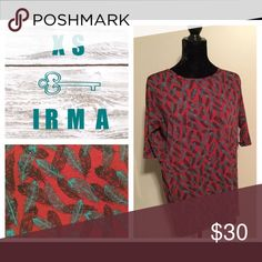 XS Lularoe Irma Tunic Brand new XS Lularoe Irma Tunic. Loose fitting and comfortable. Red background with feathers. Pairs great with Lularoe leggings. The tunic is shorter in the front and longer in the back with 3/4 sleeves. XS Irma fits sizes 2-6, but might work for sizes 8-10 if you want a tighter fit. LuLaRoe Tops Tunics