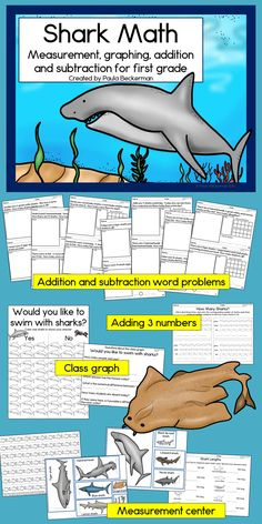 Shark math for first grade - fun for a summer or ocean theme!  $