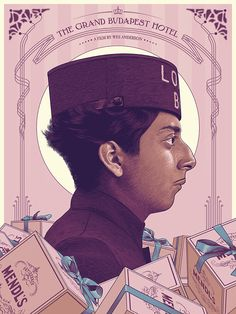 """""""The Grand Budapest Hotel"""" - Screen Print (18'x24' -Edition of 100) made forthe """"BadDadsVII"""", collective art showtribute to Wes Anderson at Spoke Art Gallery, San Francisco, CA."""