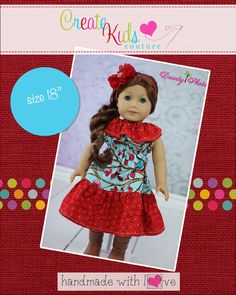 Create Kids Couture - Rose's Ruffle Neck Dress Doll Size PDF Pattern, $3.50 (http://createkidscouture.com/roses-dolls.html)