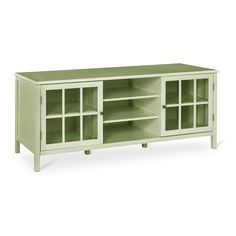 Pretty up your entertainment center with a Windam TV Stand from Threshold. This charming TV console brings cottage style 60 Tv Stand, Large Tv Stands, Tv Stand Green, 4 Shelf Bookcase, Tv Shelf, Book Shelves, Glass Shelves, Double Glass Doors, Tv Stand Glass Doors