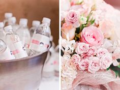 This is a baby shower idea, but I love the water bottles and pink drinks for a birthday idea