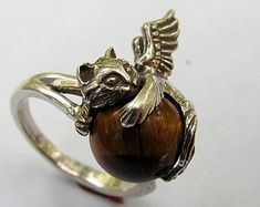 Sterling Silver Angel Kitten Ring With Tiger Eye