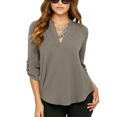 Women's V-Neck Chiffon Casual Long Sleeve Blouse | 9th Wave