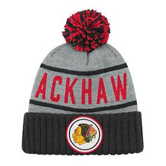 85057c69525 Get this Chicago Blackhawks High 5 Vintage Knit Hat at ChicagoTeamStore.com  Knitted Gloves