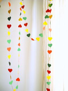 Rainbow party garlandHoliday red green yellow paper by pitsispopis, $10.00