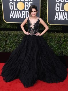Laura Marano shows her support of in a black, detailed plunging gown at the Golden Globes. Golden Globe Award, Golden Globes, Beautiful Outfits, Beautiful Clothes, Transparent Dress, Laura Marano, Hollywood Life, Red Carpet Looks, Fashion Pictures