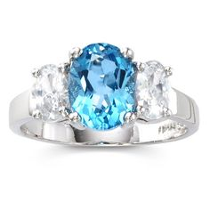Sterling Silver 2.3-Carat Genuine Blue Topaz 3-Stone Ring ($57) ❤ liked on Polyvore featuring jewelry, rings, sterling silver rings, sterling silver jewellery, blue topaz jewelry, sterling silver 3 stone ring and blue topaz rings